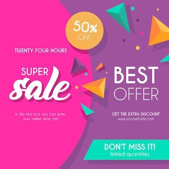 Kleurrijke verkoop achtergrond met driehoeken