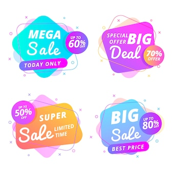 Kleurrijke verkoop banners collectie concept