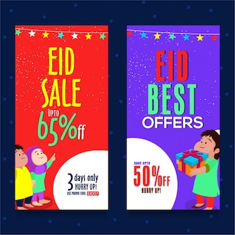 Kleurrijke verkoop banners voor eid mubarak