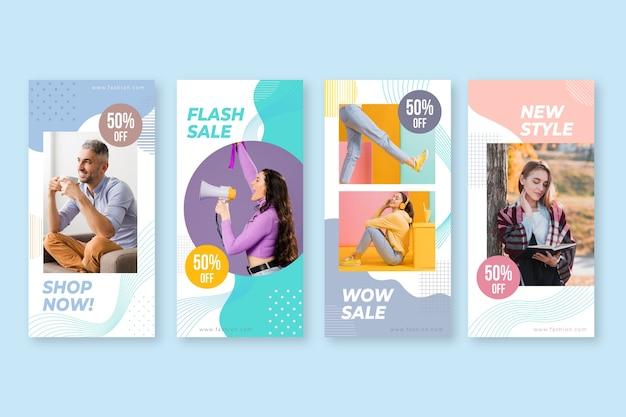 Kleurrijke verkoop ig verhalen met mensen