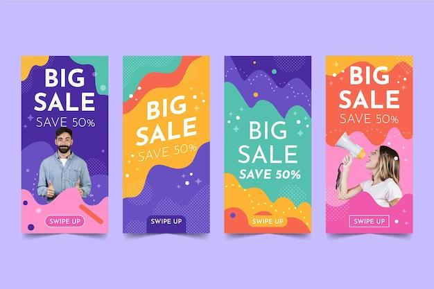 Kleurrijke verkoop ig verhalen