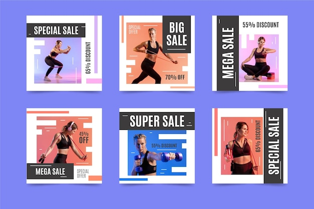 Kleurrijke verkoop instagram-berichten instellen