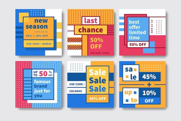 Kleurrijke verkoop instagram berichten