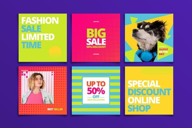 Kleurrijke verkoop instagram berichtenset