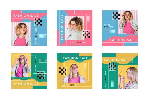 Kleurrijke verkoop instagram post collectie