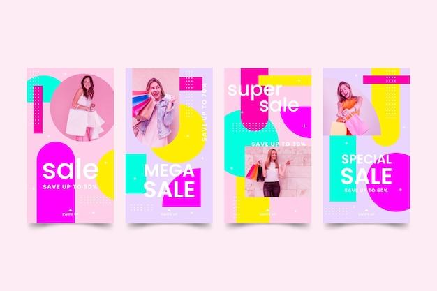 Kleurrijke verkoop instagram postinzameling
