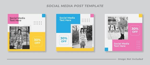 Kleurrijke verkoop instagram postverzameling