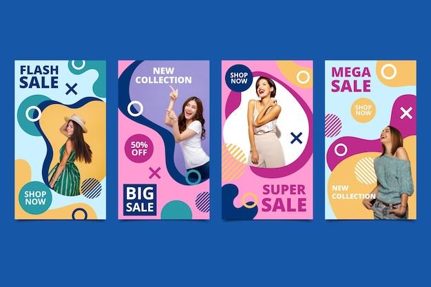 Kleurrijke verkoop instagram verhalen