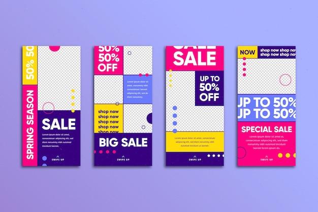 Kleurrijke verkoop instagramverhalen