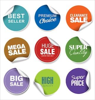 Kleurrijke verkoop stickers illustratie collectie
