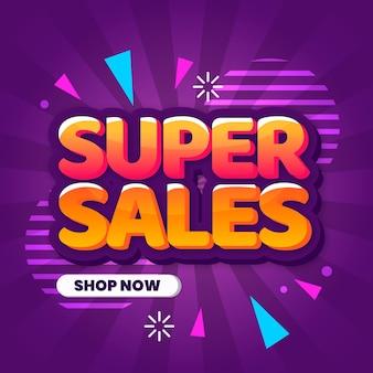 Kleurrijke verkoopachtergrond in 3d ontwerp