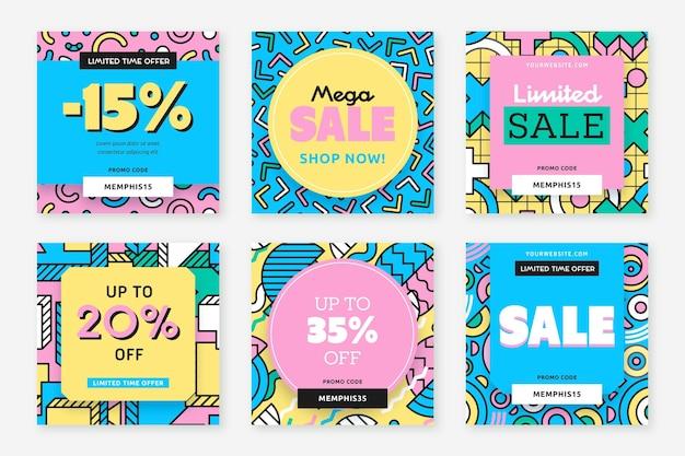 Kleurrijke verkoopadvertentie op instagram-post