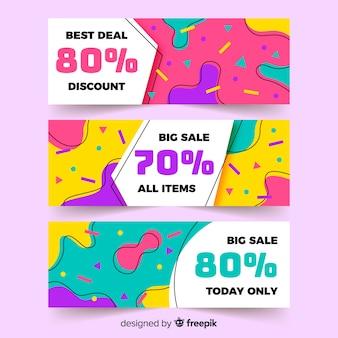 Kleurrijke verkoopbannerinzameling in de stijl van memphis