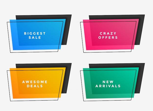 Kleurrijke verkoopframes in verschillende kleuren
