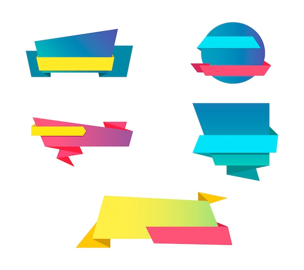 Kleurrijke verkooplinten instellen. verzameling van zakelijke ontwerp lint