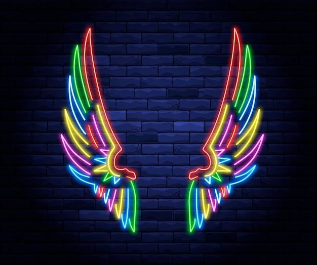 Kleurrijke verlichte neon engelenvleugels