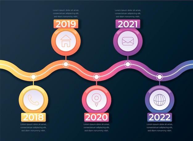 Kleurrijke verloop tijdlijn infographic