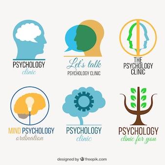 Kleurrijke verpakking van platte psychologie logos