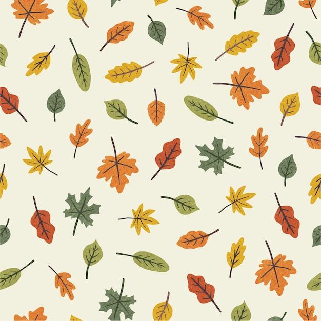 Kleurrijke verschillende bladeren. seizoensgebonden herfst naadloze patroon. vector illustratie