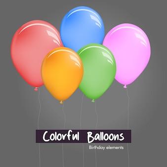 Kleurrijke verschillende grootteballons voor grijze achtergrond