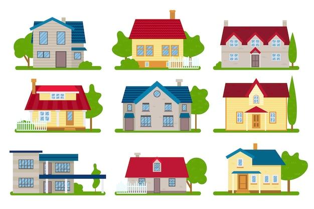 Kleurrijke verschillende huizen pakken