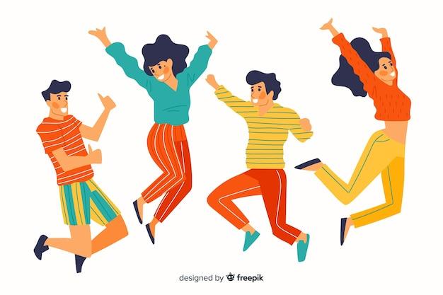 Kleurrijke verschillende mensen die samen springen