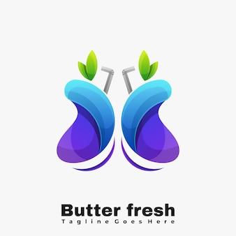 Kleurrijke verse vlinders logo illustratie vector sjabloon