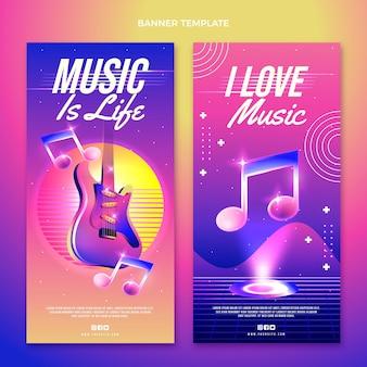 Kleurrijke verticale banners voor muziekfestivals
