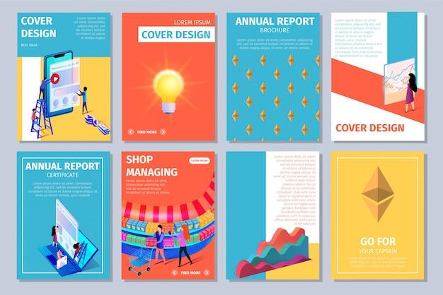 Kleurrijke verticale cover design set met kopie ruimte