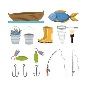Kleurrijke verzameling elementen voor de visserij