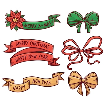 Kleurrijke verzameling getekende kerstlinten