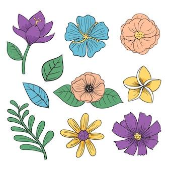 Kleurrijke verzameling hand getrokken bloemen
