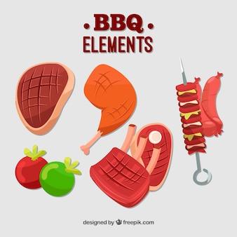 Kleurrijke verzameling platte bbq-elementen