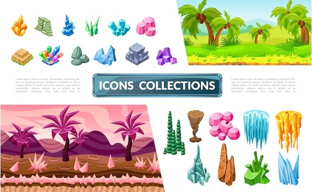 Kleurrijke verzameling spellandschapselementen met tropische en fantasielandschappen, heldere stenen, mineralen en kristallen