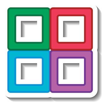 Kleurrijke vier vierkante vormen