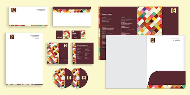 Kleurrijke vierkante doospatrooncombinatie moderne zakelijke bedrijfsidentiteit stationair