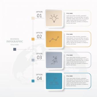 Kleurrijke vierkante infographics met 4 stap.