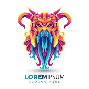 Kleurrijke viking logo sjabloon