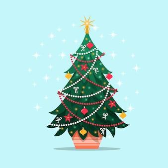 Kleurrijke vintage kerstboom