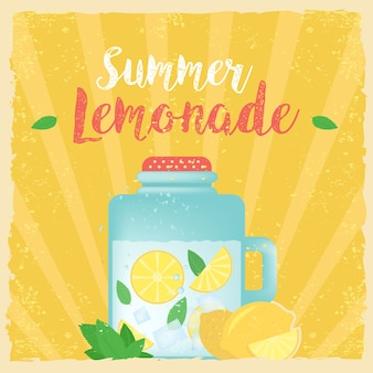Kleurrijke vintage limonade label poster vector illustratie. zomer achtergrond. effecten poster, frame, kleuren achtergrond en kleuren tekst zijn bewerkbaar. gelukkige vakantiekaart, gelukkige vakantiekaart.