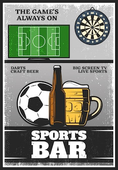 Kleurrijke vintage sport bar poster