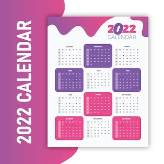 Kleurrijke violet en roze 2022 printklare wandkalender