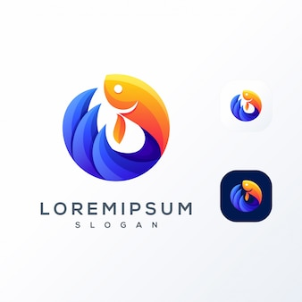 Kleurrijke vis golf logo