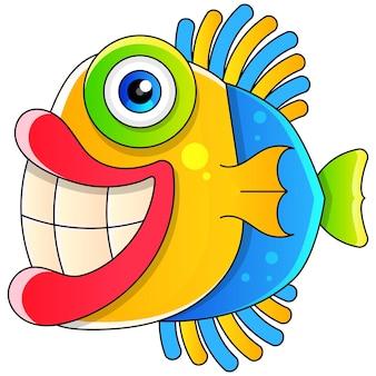 Kleurrijke vissen met grote glimlach cartoon stijl illustratie