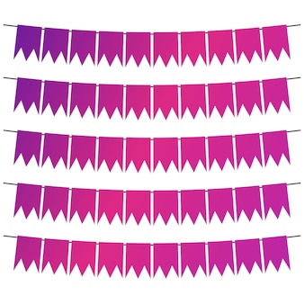Kleurrijke vlaggen en slingerslingers voor decoratie. decorelementen met verschillende patronen. vector illustratie