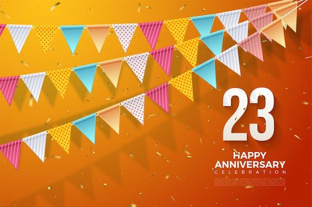 Kleurrijke vlaggen voor 23e verjaardag achtergrond