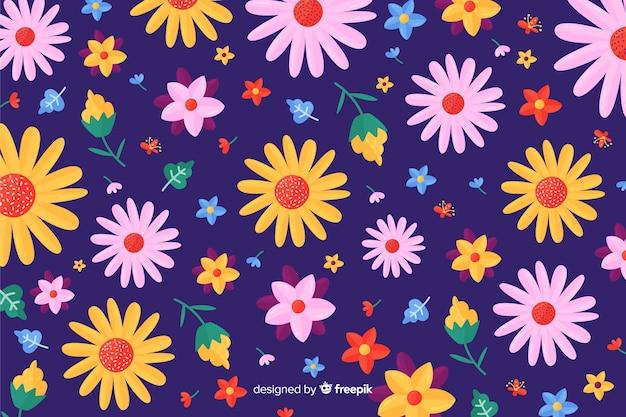 Kleurrijke vlakke bloemen decoratieve achtergrond