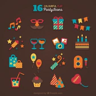 Kleurrijke vlakke partij pictogrammen