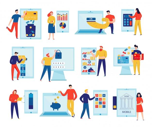 Kleurrijke vlakke pictogrammen die met mensen worden geplaatst die rekeningen betalen en rekeningen controleren door geïsoleerd online bankwezen