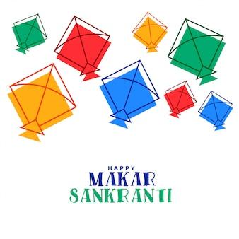 Kleurrijke vliegende vliegers makar sankranti festival wenskaart